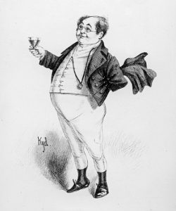 XJF391500 Mr. Pickwick, a character from 'The Pickwick Papers' by Charles Dickens (litho) by Clarke, Joseph Clayton (Kyd) (fl.1883-94); lithograph; Private Collection; (add. info.: 'The Posthumous Papers of the Pickwick Club'; Samuel Pickwick; Charles Dickens (1812-70)); British, out of copyright